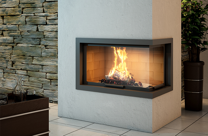 Axis H1200VLD Two Sided Wood Fireplace