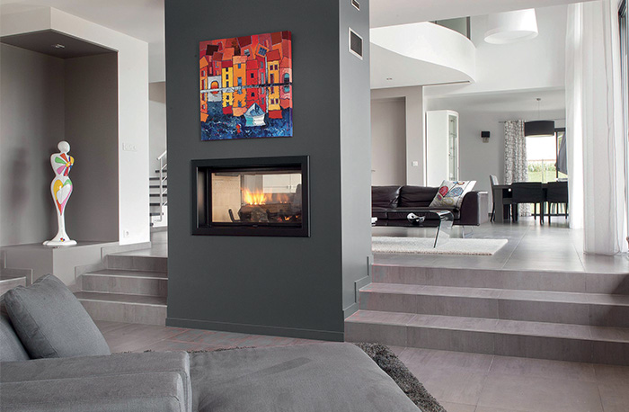 Axis H1600DS Double Sided Inbuilt Wood Fireplace