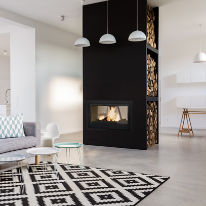 Axis I1000IB Double Sided Wood Fireplace