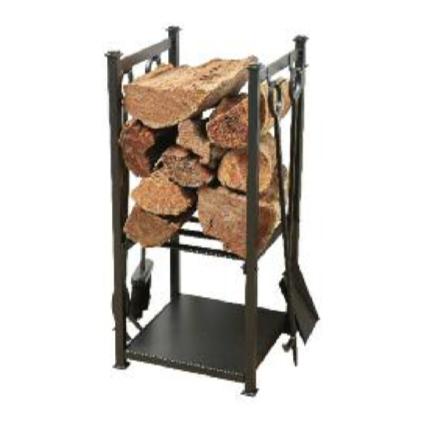 4 Piece fire tool set and Log holder
