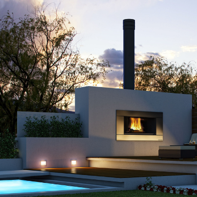 Escea EW5000 Outdoor Fireplace - Woodpecker Heating, Cooling, Fireplaces & BBQ's